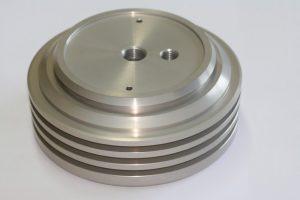 décolletage pièce aluminium, poulie anodisation incolore